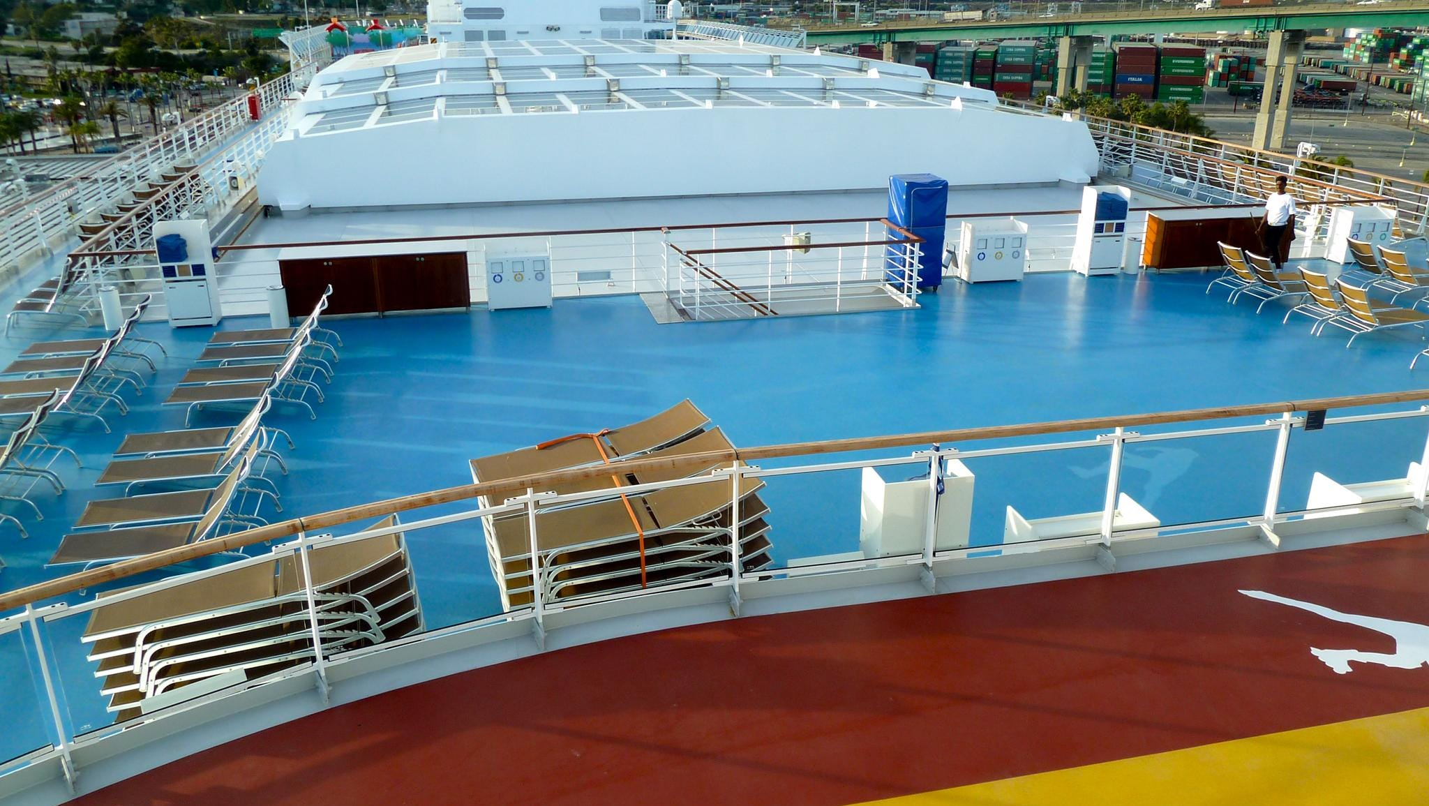 This is the view overlooking the forward portion of the ship and magrodome-covered midships pool area from forward Girasole Deck.