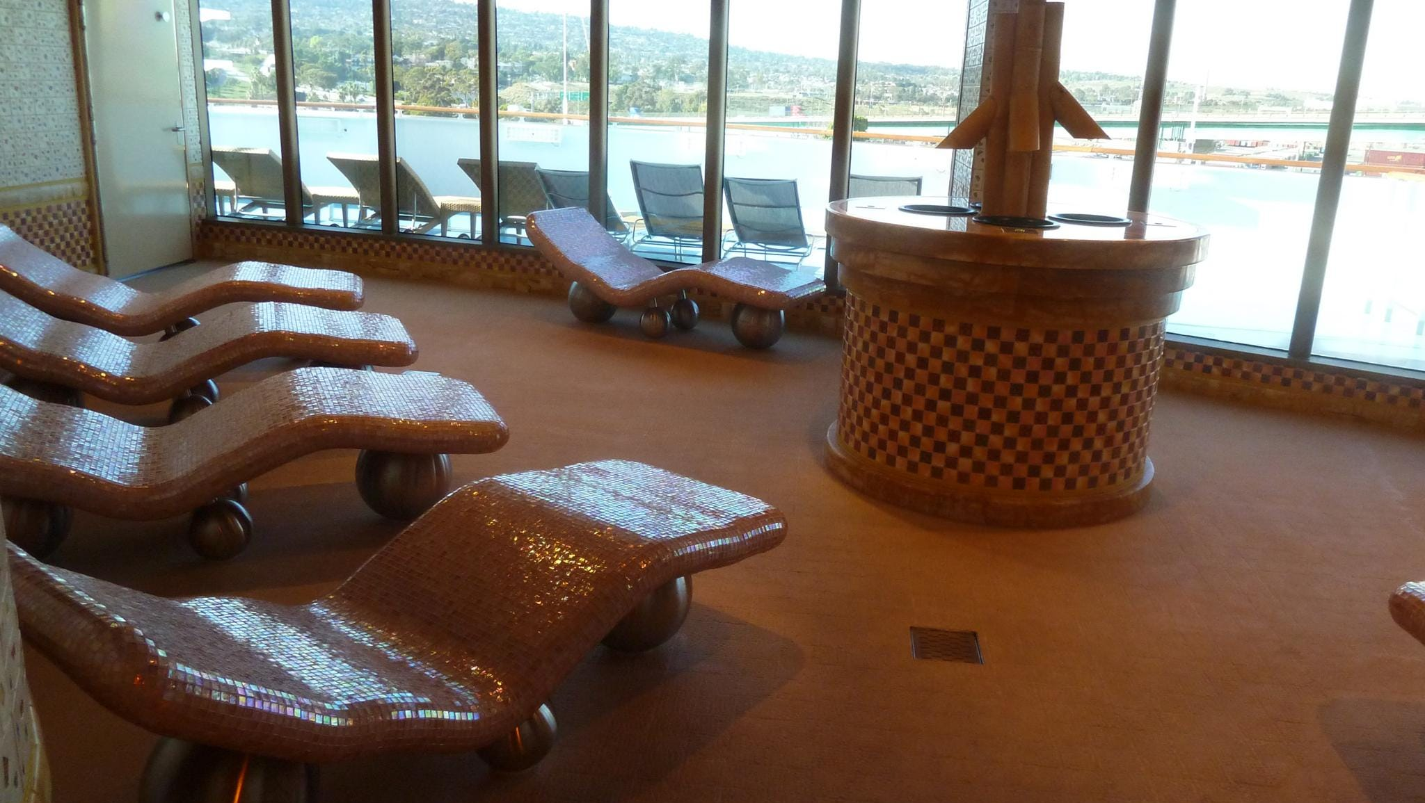 The Rock Sauna fronts the thermal suite on the Orchidea Deck level of the Samsara Spa.