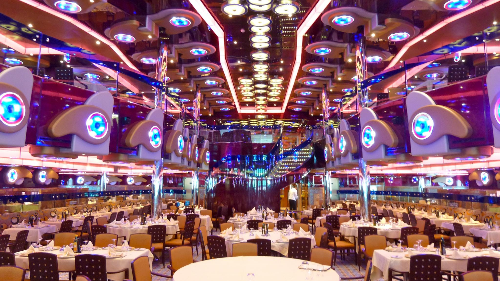 Here is a view facing forward in the Restaurant Albatros from aft Gardenia Deck.