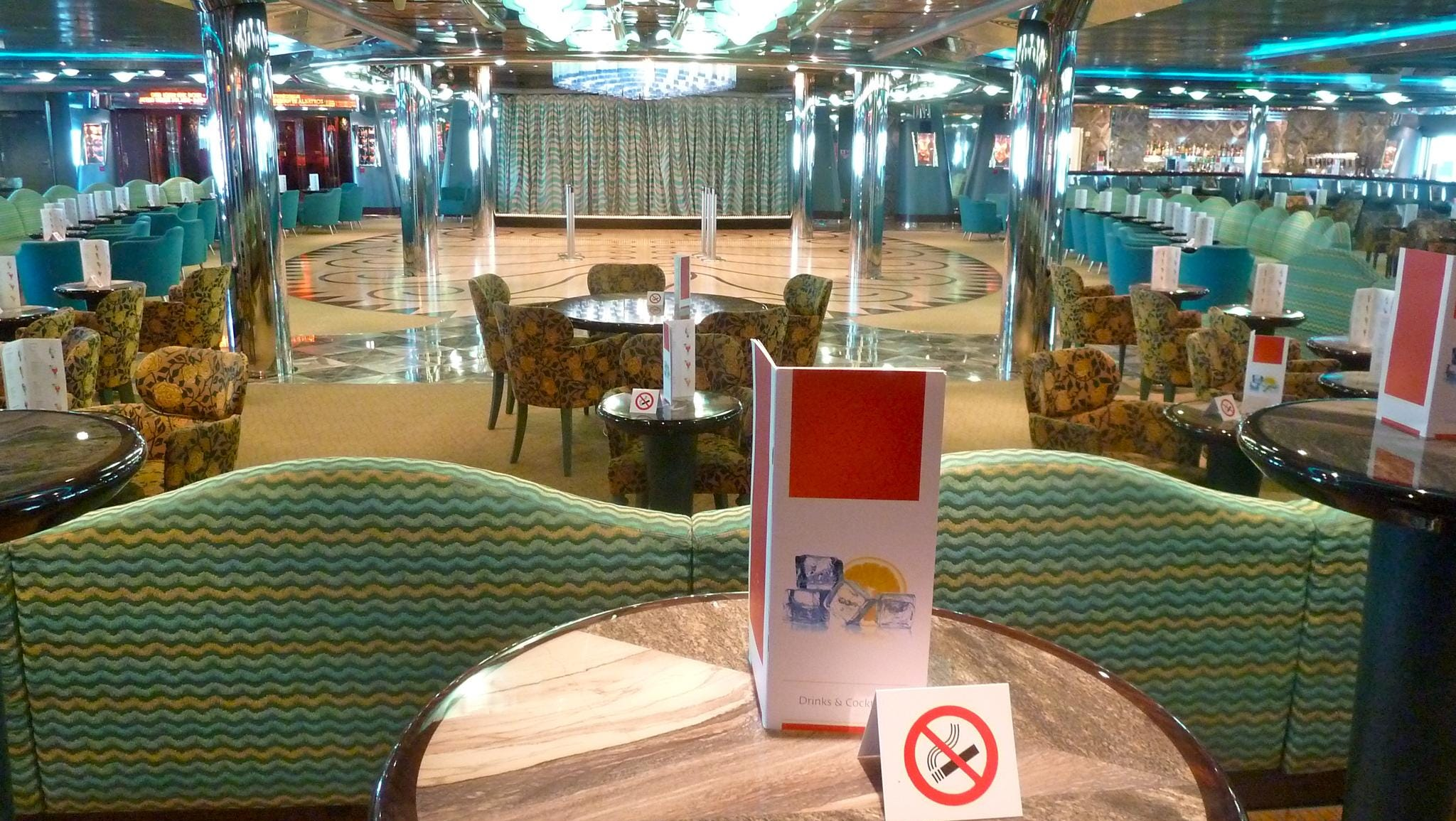 """The Grand Bar Mirabilis, which takes its name from the Latin term for """"amazing"""" and """"wonderful"""", is a large, colorful bar and lounge located just aft of Teatro Duse on Gardenia Deck."""