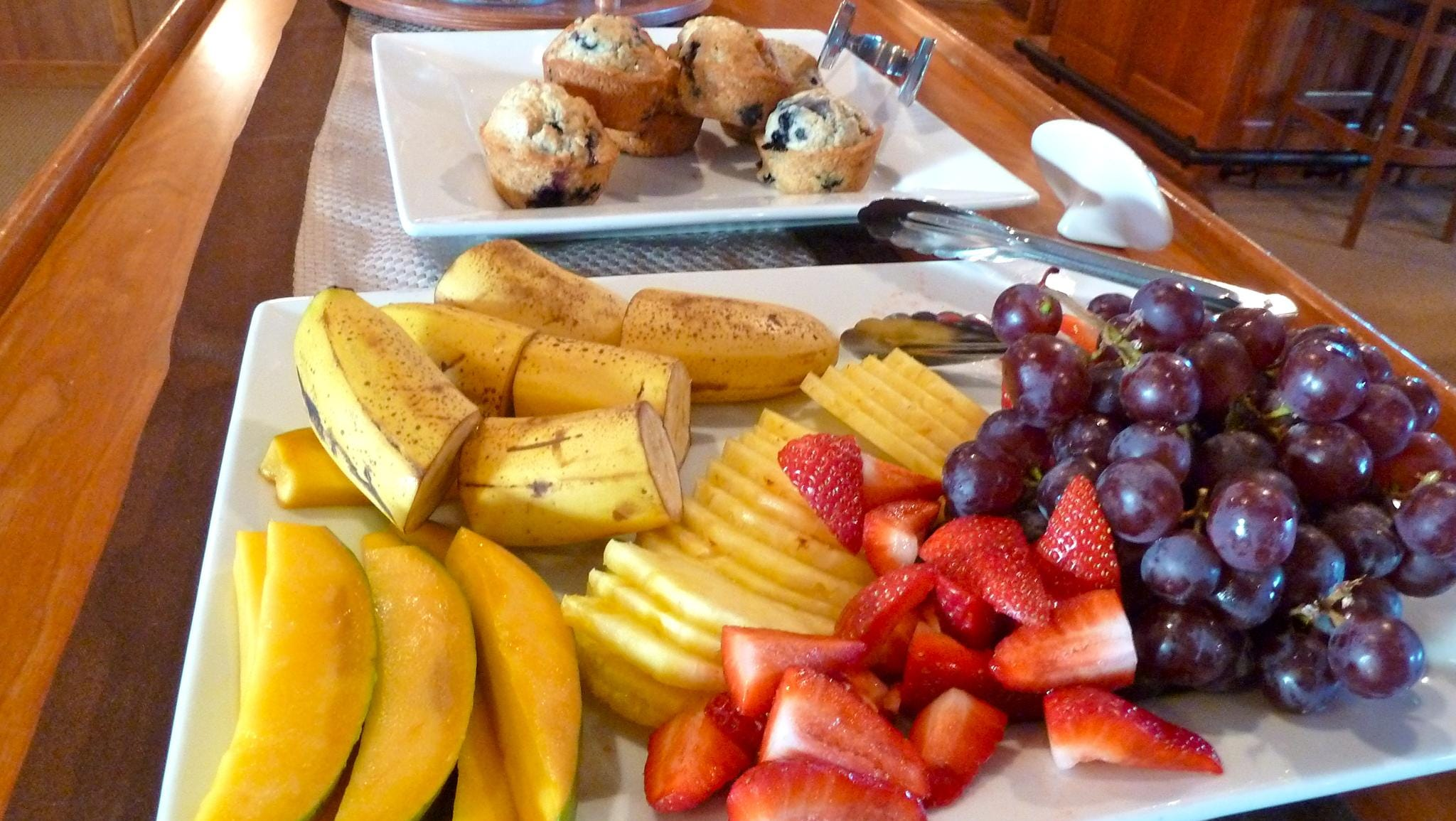 A continental breakfast is available each morning, featuring freshly baked pastries and muffins, fresh fruit, a selection of yogurts, bread and cereals.