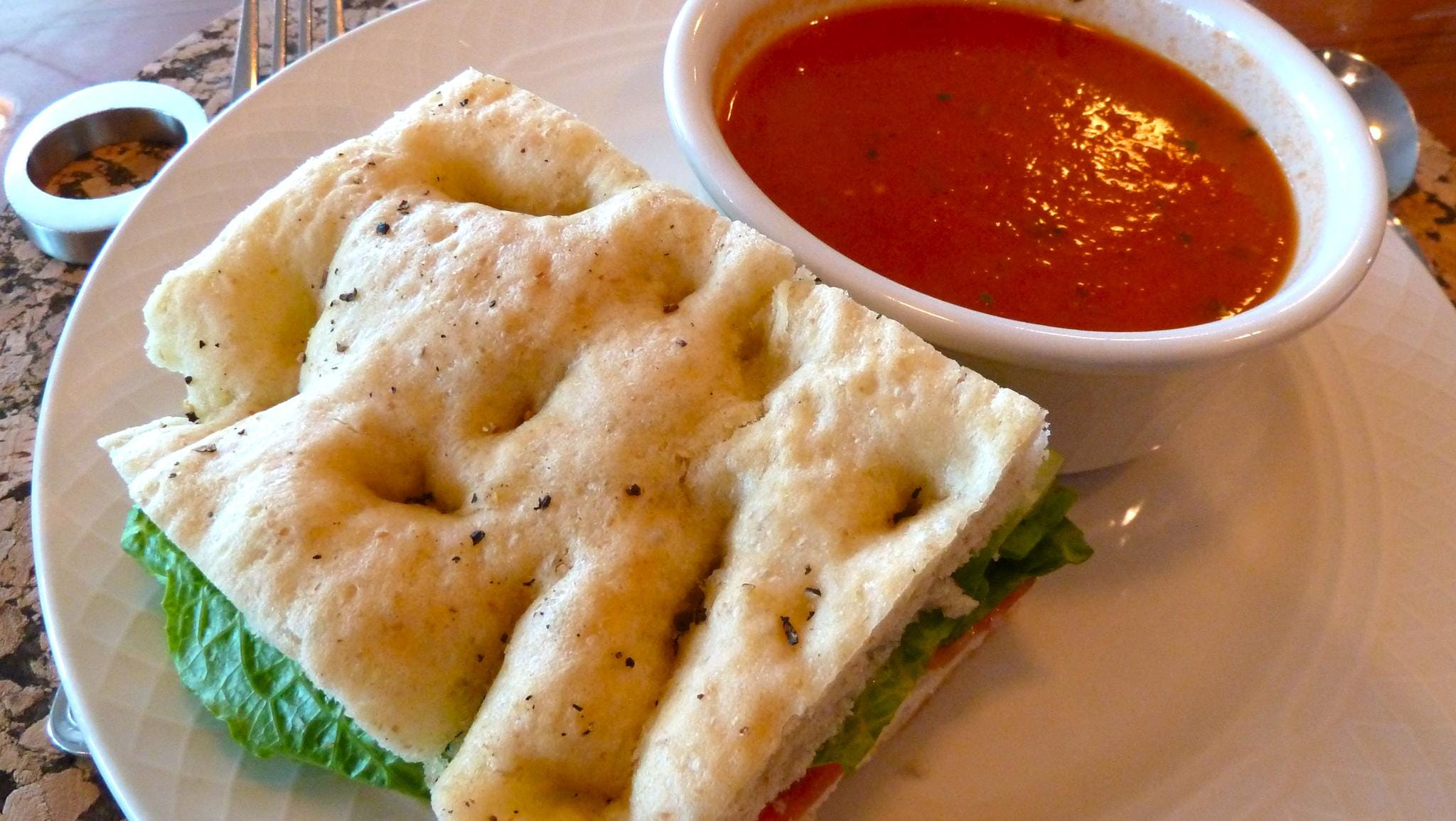 Light lunch fare is made from all natural, fresh ingredients, such as this turkey focaccia sandwich with tomato basil soup.