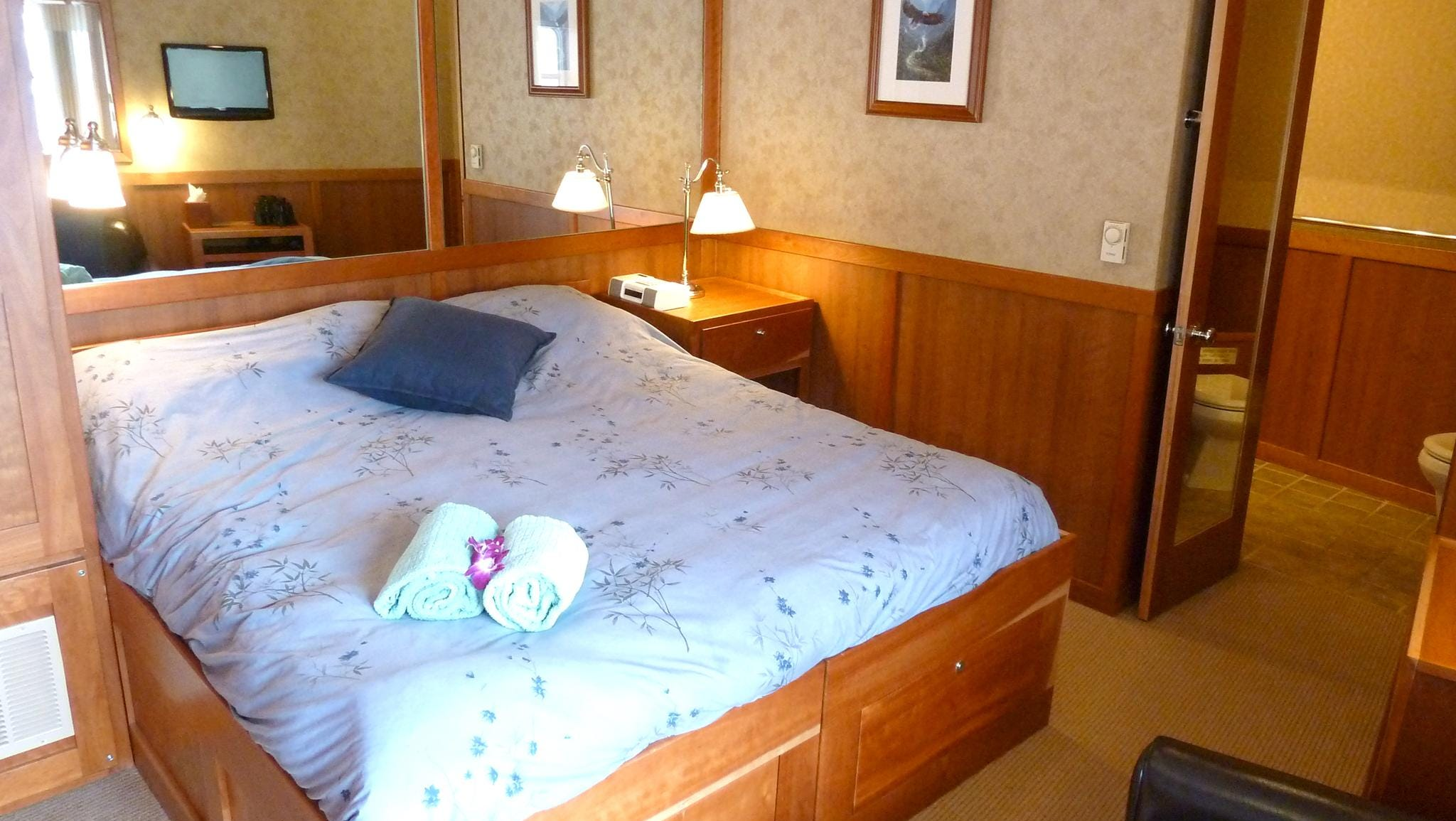 Three Admiral Staterooms feature large bedrooms with king-sized beds and plenty of storage space.