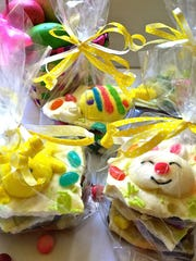 Easy Easter bark is made with creamy white chocolate over crunchy chocolate graham crackers.