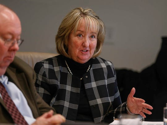 Sue Huppert, Chair to the Des Moines Water Works Board of Trustees, talks about a regional water utility during a meeting with the Des Moines Register editorial board in Des Moines on Wednesday, Jan. 17, 2018.