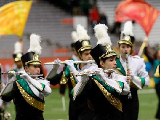 Vestal's marching band performs in the 41st annual New York State Field Band Conference Competition on Sunday at the Carrier Dome in Syracuse.