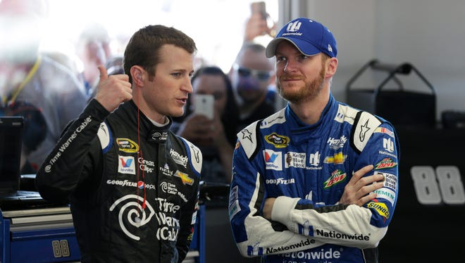 Hendrick Motorsports drivers Kasey Kahne, left, and Dale Earnhardt Jr. will likely win a race this season to make the Chase for the Sprint Cup.