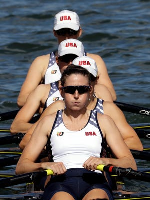 From front, Grace Latz, Tracy Eisser, Megan Kalmoe and Adrienne Martelli, of United States, finished fifth in the women's rowing quadruple sculls final Thursday morning during the 2016 Summer Olympics in Rio de Janeiro, Brazil.