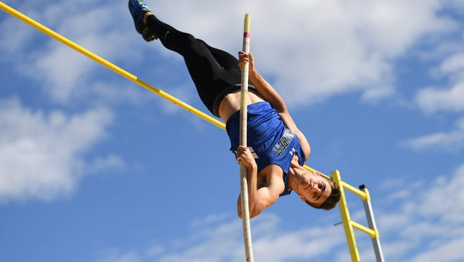 Boys and girls track and field championship at River Dell High School on Friday, May 26, 2017. Jason Mezhibovsky, of Demarest, competes in the pole vault.