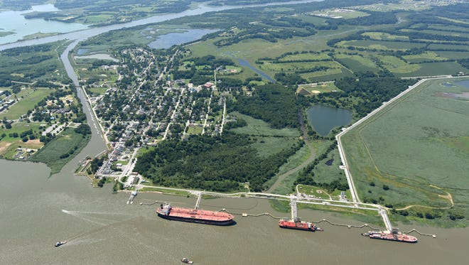 Tankers and barges load up on oil, gasoline and other petroleum products at the Delaware City Refinery's three docks along the Delaware River.