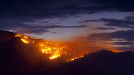 A blaze rages in northern Los Angeles County.