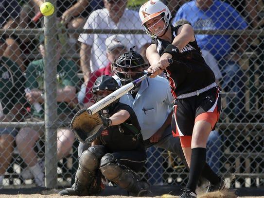 Kaukauna's Haley Hestekin connects with a pitch against