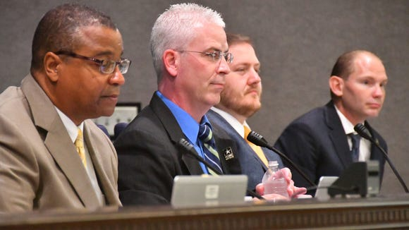 Councilman Tres Holton is second from left at a May 18 Palm Bay City Council meeting, joined by Mayor William Capote, left, and council members Jeff Bailey and Brian Anderson.