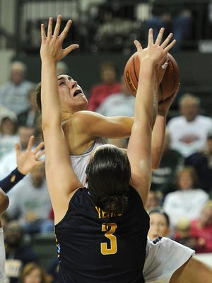 UW-Green Bay guard Kaili Lukan drives against Marquette guard McKayla Yentz (3) at the Kress Center on Friday.