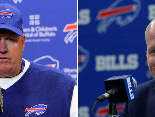 FILE - At left, in a Dec. 11, 2016, file photo, Buffalo Bills head coach Rex Ryan talks to reporters after a 27-20 loss to the Pittsburgh Steelers in an NFL football game in Orchard Park, N.Y. At right, in a Jan. 13, 2017, file photo,  Buffalo Bills head coach Sean McDermott addresses the media during a press conference, in Orchard Park, N.Y. The franchise is undergoing the latest in a long string of offseason overhauls after coach Rex Ryan was fired in December. The changes place the onus on the new regime to restore order to a franchise now on its eighth coach, Sean McDermott.  (AP Photo/File)
