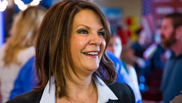 State Sen. Kelli Ward talks to members of the press after officially announcing on July 14, 2015, that she is running against Sen. John McCain for US Senate.