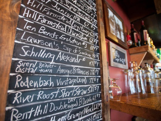 The beer list at the Blackback Pub in Waterbury on