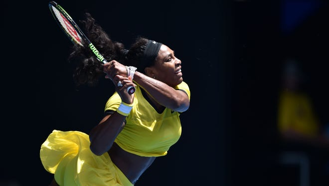 Serena Williams plays a backhand return during her women's singles match against Russia's Margarita Gasparyan.