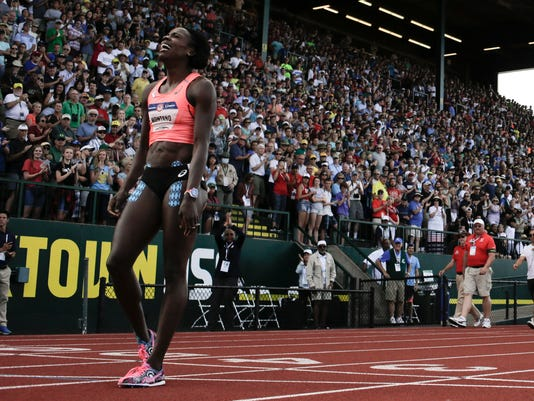 Alysia Montano reacts after falling during the women's 800-meter final at the U.S. Olympic Track and Field Trials, Monday, July 4, 2016, in Eugene Ore. (AP Photo/Matt Slocum)