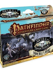 This is an example of the additional decks that can be purchased to enhance the base game of Skull & Shackles. There is a character deck with four new characters to play along with five additional decks that continue the campaign adventure to an exciting conclusion.