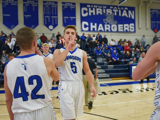 Sioux Falls Christian's Mitchell Goodbary is introduced