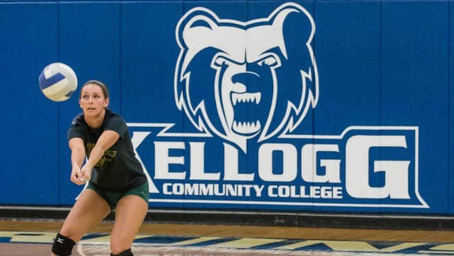 Kellogg Community College volleyball player Hanna Lenz during a recent practice.