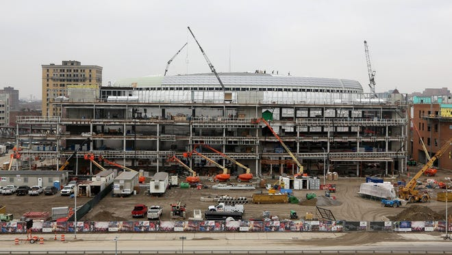 Work continues on the construction of Little Caesars Arena in Detroit on Thursday, January 19, 2017.