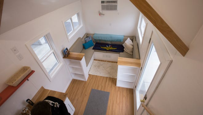 Inside detail of one of the fifteen tiny houses that people can rent during Indy 500 weekend, on display at the Indianapolis Motor Speedway, Monday, Jan. 29, 2018. The facilities, which sleep four, are priced at $3,000, which includes tickets for the race and surrounding events.