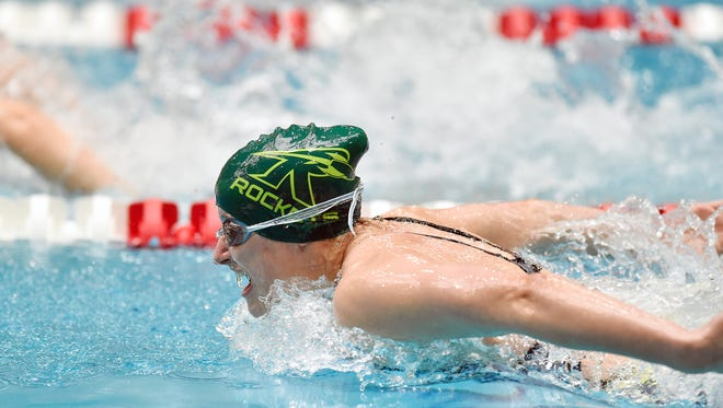 James Buchanan's Rachel Kimmel swims the girls' 200-yard IM in the PIAA District 3 AA girls' swimming championships Friday, March 2, 2018, at Cumberland Valley. Kimmel placed second in the event.