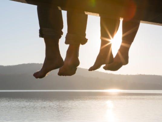 couple feet dangling