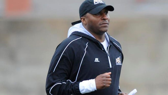 Alabama State University head coach Reggie Barlow during spring football drills at the ASU campus in Montgomery, Ala. on Tuesday March 4, 2014.