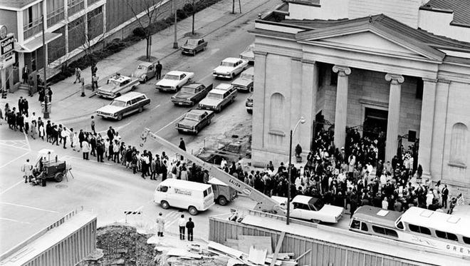 An interfaith service at St. Mary's Catholic Church in downtown Nashville drew hundreds of Vanderbilt University students for a memorial service for the Rev. Martin Luther King Jr. on April 5, 1968.