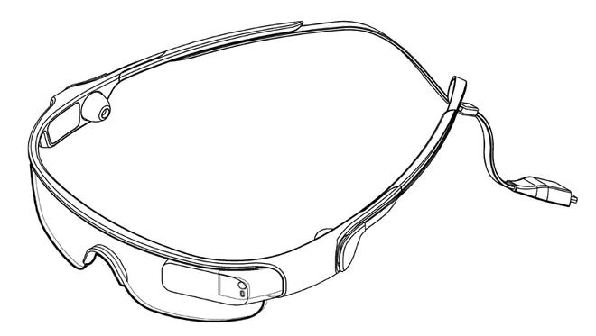 A diagram of Samsung's sport glasses device.