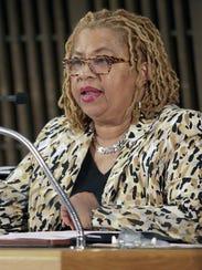 Wilmington city council member Hanifa Shabazz leads