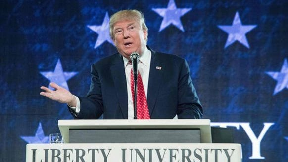 President Donald Trump addresses the graduating class