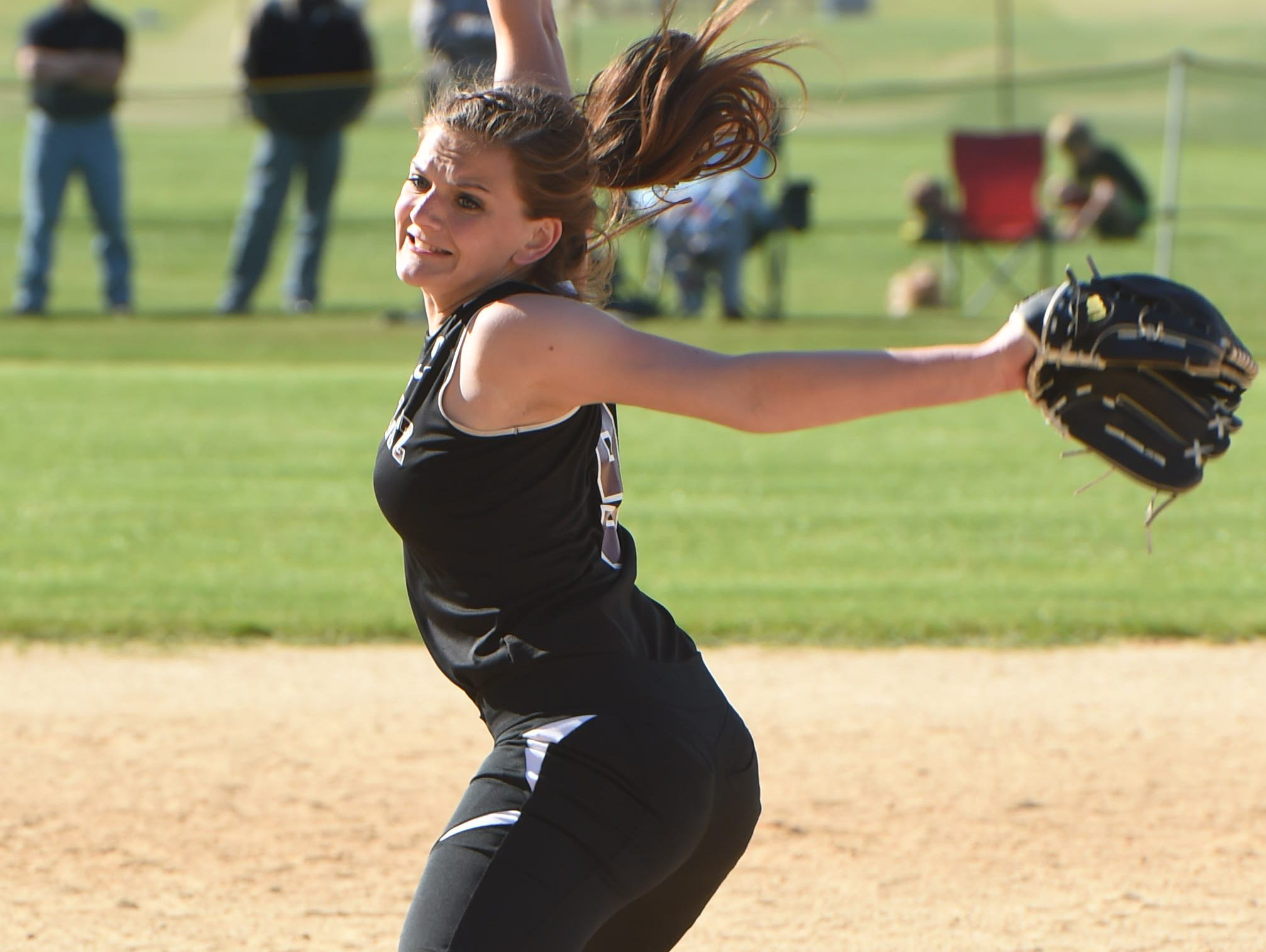 New Paltz's Bridget Bennett winds up for a pitch during Monday's game against Marlboro.
