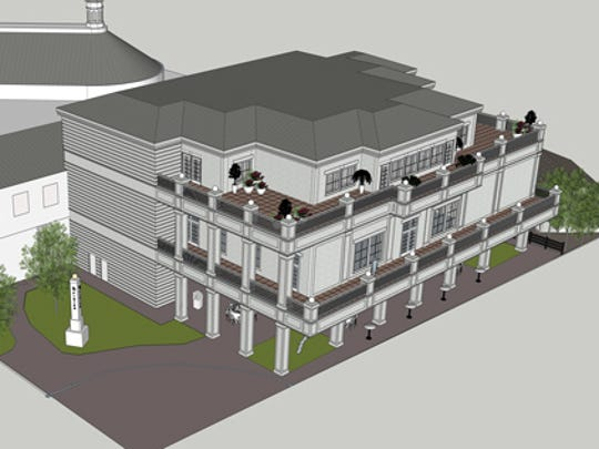 A Hubbuch & Co. rendering of the new exterior of the Kentucky Derby Museum at Churchill Downs.