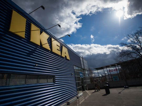 The logo of IKEA is pictured outside Europe's biggest Ikea store in Kungens Kurva, south-west of Stockholm on March 30, 2016.  Ikea founder Ingvar Kamprad, who built a global business empire with revolutionary flat-pack furniture and dallied with Nazism in his youth, turned 90 today. / AFP / JONATHAN NACKSTRAND