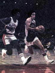 Tom Flaherty (right) playing for Seton Hall in an undated