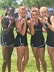 Members of the girls 4x100 relay team who won state with a time of 50.46 and broke the school record in the preliminaries with a 49.92 are from left Shalom Keller, Bailey Jones, Sara McMasters, and Morgan Johnson.