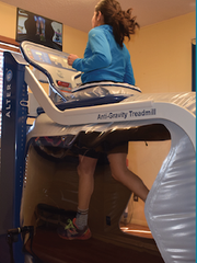 The plastic chamber of the AlterG treadmill allows