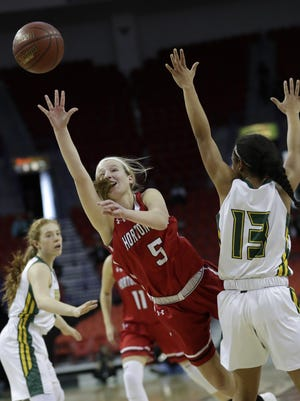 Hortonville High School's Shay Frederick (5) puts up a shot against Beaver Dam High School's Jada Donaldson (13) during their Division 2 semifinal game at the WIAA state girls basketball tournament Friday, March 9, 2018, at the Resch Center in Ashwaubenon, Wis.  Dan Powers/USA TODAY NETWORK-Wisconsin