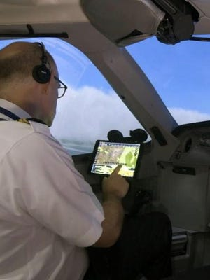 A Delta pilot uses Flight Weather Viewer turbulence app.