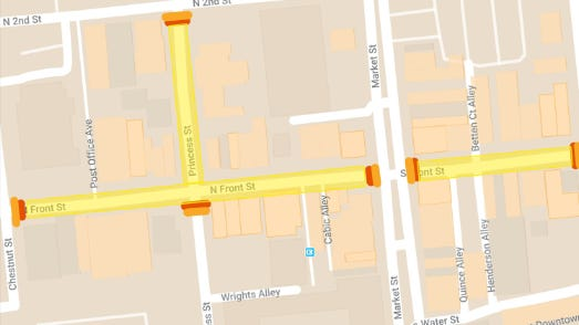 Four blocks in downtown Wilmington will close to traffic on Thursday and Friday evenings, and Saturdays and Sundays through the summer. The move will allow restaurants and retailers to add more outdoor business space.