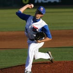 Louisiana Tech pitcher Phil Maton throws a pitch.