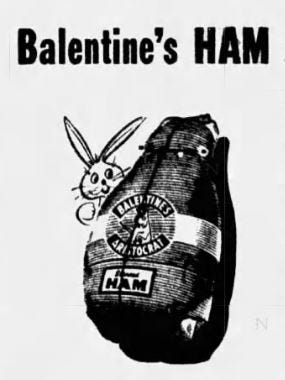 An advertisement for Balentine's ham, which at one point sold for 49 cent a pound.