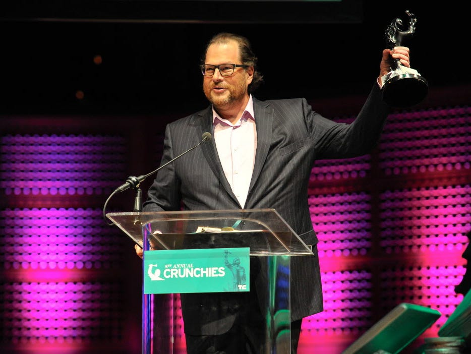 Marc Benioff, shown here at a recent TechCrunch awards show, is upset at a new law passed in Indiana that he says discriminates against gays and lesbians.