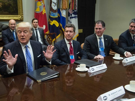 Among business leaders who met with President Donald Trump on January 23, 2017 were, from left to right, Johnson & Johnson CEO Alex Gorsky, Dell Technologies CEO Michael Dell and US Steel CEO Mario Longhi.