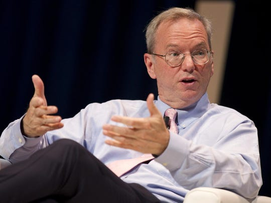 Former Google Chief Executive Eric Schmidt, shown in Cannes, France, in June 2016, is stepping down as Alphabet's executive chairman.