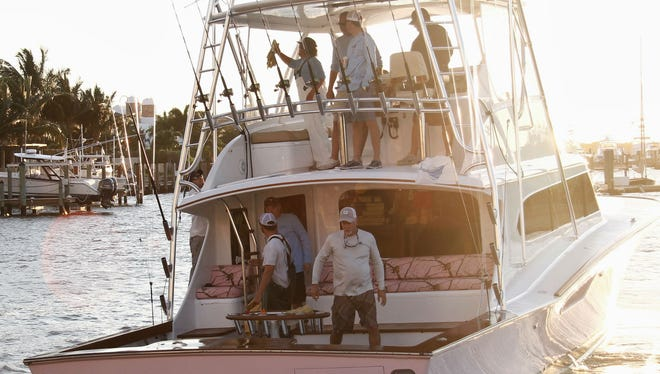 Cowpoke, in this file photo from 2015, is led by Capt. Mike Brady of Fort Pierce and owned by Cruiser and Christy Crews of Avon Park. The team leads the first day of the 2017 Light Tackle Sailfish Tournament, the 64th annual event hosted by the Stuart Sailfish Club.